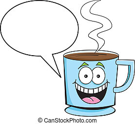 Cartoon illustration of a cup of coffee with a caption balloon.