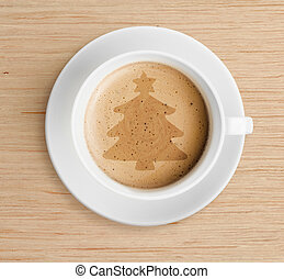 coffee cup with christmas tree shape on foam