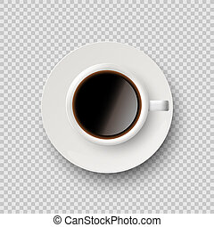 Coffee cup with coffee and saucer isolated on transparent background. Vector realistic design element.