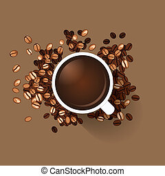 Coffee cup with coffee beans