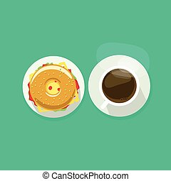 Coffee cup with donut sandwich top view vector illustration