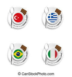 coffee cup with flags illustration