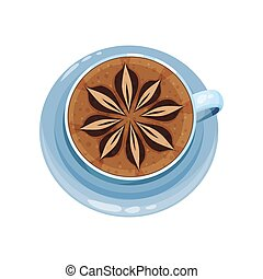 Coffee cup with flower pattern design on top, drawings on coffee crema vector Illustration on a white background