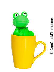 Coffee cup with green frog