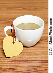 coffee cup with heart tag