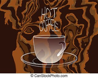 Coffee cup with Hot Coffee steam words on camouflage background