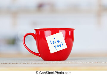 Coffee Cup With I Love You Tag - Closeup of coffee cup with...