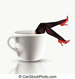 coffee cup with legs