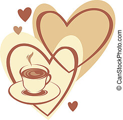 Coffee cup with love on the heart background