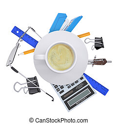 Coffee cup with office supplies on white