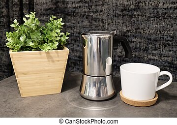Coffee Cup with Pot on The Table