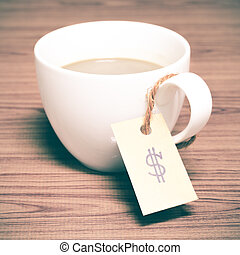 coffee cup with price tag