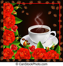 Coffee cup with roses