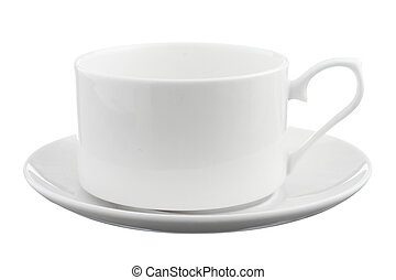 coffee cup with saucer isolated on white background