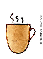 Coffee cup with steam sketched in coffee