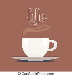Coffee cup with steam vector illustration, design element, icon, background