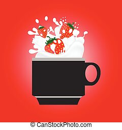 coffee cup with strewberry red illustration