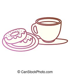 coffee cup with sweet donuts
