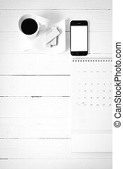 coffee cup with wafer, phone, calendar black and white color