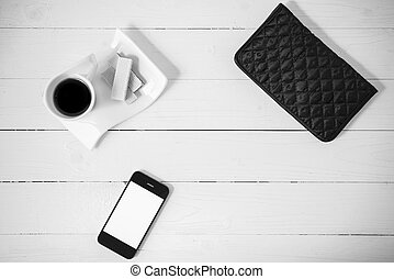 coffee cup with wafer, phone, wallet black and white color