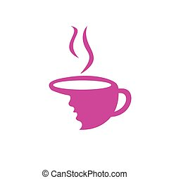 Coffee cup with women face logo vector. Coffee shop logo design.