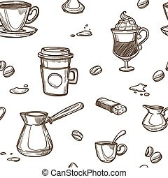 Coffee cups and bean vector pattern background - Coffee cups...