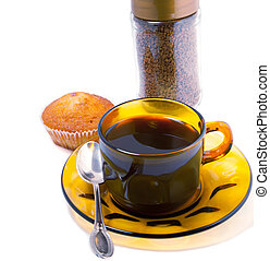 coffee cups and cakes on a white background