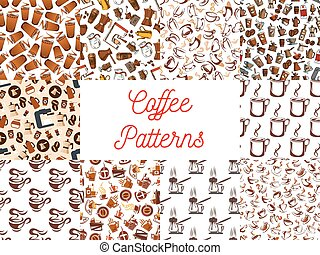 Coffee cups and coffee makers seamless patterns
