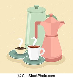 coffee cups and pots on yellow background vector design