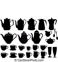 coffee cups and pots, vector - coffee pot and cup...