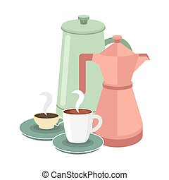 coffee cups and pots vector design