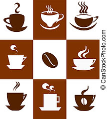 Coffee cups background. Vector illustration