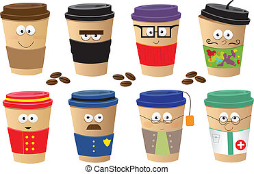 Coffee Cups Characters - Cute set of 8 coffee cups...