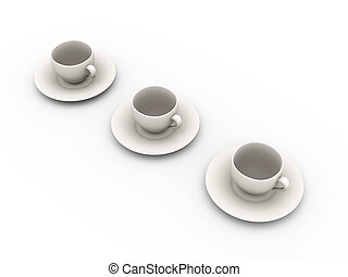 Coffee Cups - 3D rendered Illustration. Coffee or Tea cups.