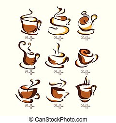 coffee cups logo brown Design Collection. Freeform. symbol....