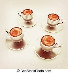 541fecb3d40 Cardboard coffee cups on light background 3d illustration. Cardboard ...