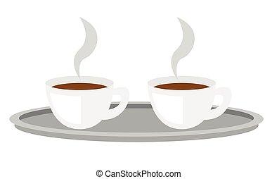 Coffee cups on tray vector cartoon illustration.