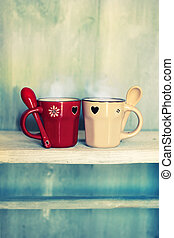 Coffee cups - Retro photo of two cute coffee cups