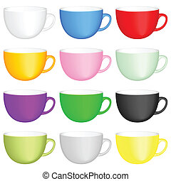 coffee cups set - Color coffee cups on white background....