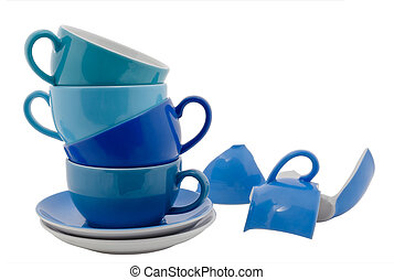 Coffee Cups - Stack of blue Coffee Cups and one broken cup,...