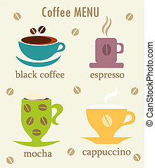 Coffee cups - Various kinds of coffee in cups - cafe menu....