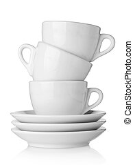 Coffee cups with saucers - White coffee cups with saucers....