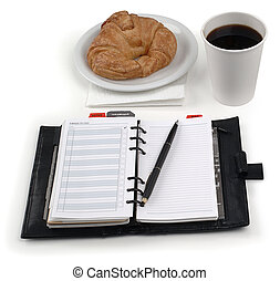 coffee, danish, planner