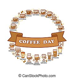 Coffee day card. Set of cute various beverage icons.