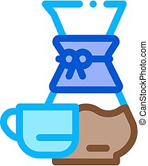 coffee decanter cup icon vector outline illustration - ...
