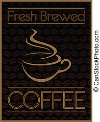 Illustration of a coffee design. Includes a coffee cup and coffee bean graphics.