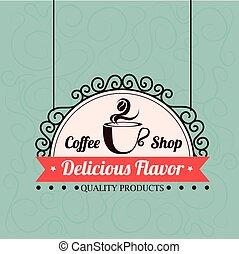 Coffee design over blue background, vector illustration