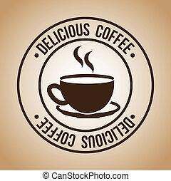 Coffee design over beige background, vector illustration
