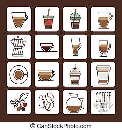 Coffee design over brown background, vector illustration