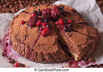 Coffee dessert with berries